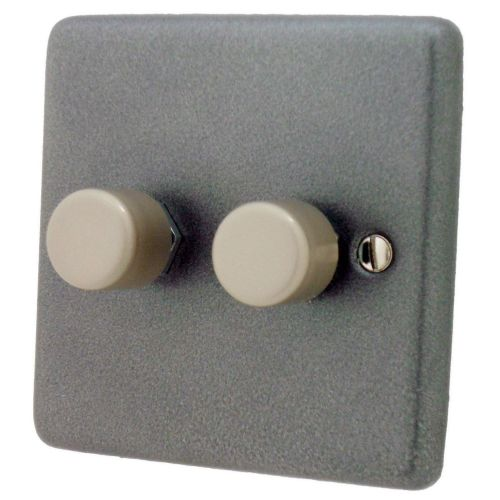 G&H CP12 Standard Plate Pewter 2 Gang 1 or 2 Way 40-400W Dimmer Switch